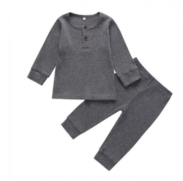 Quinn | Ribbed Bodysuit and Pants Set - Charcoal