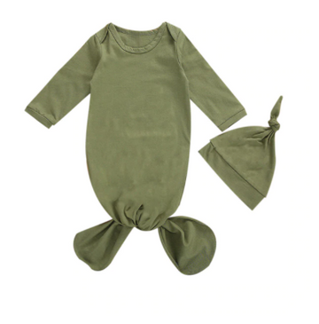 Olive Baby Sleeper, Nightgown with Beanie | One Size
