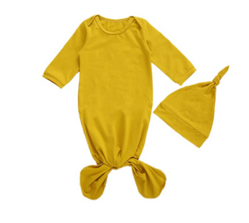 Gold Baby Sleeper, Nightgown with Beanie | One Size