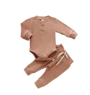 Kai | Ribbed Bodysuit and Pants Set - Tan
