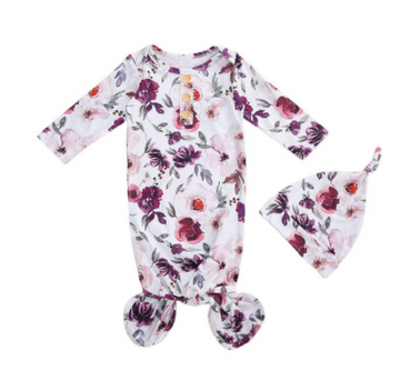 Floral Purple Baby Sleeper, Nightgown with Beanie | One Size