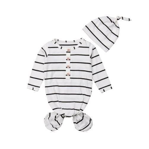 Striped Baby Sleeper Nightgown with Beanie | One Size - Chinguli's Creations