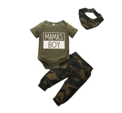 Mama's Boy Camo | 3PC Baby Outfit