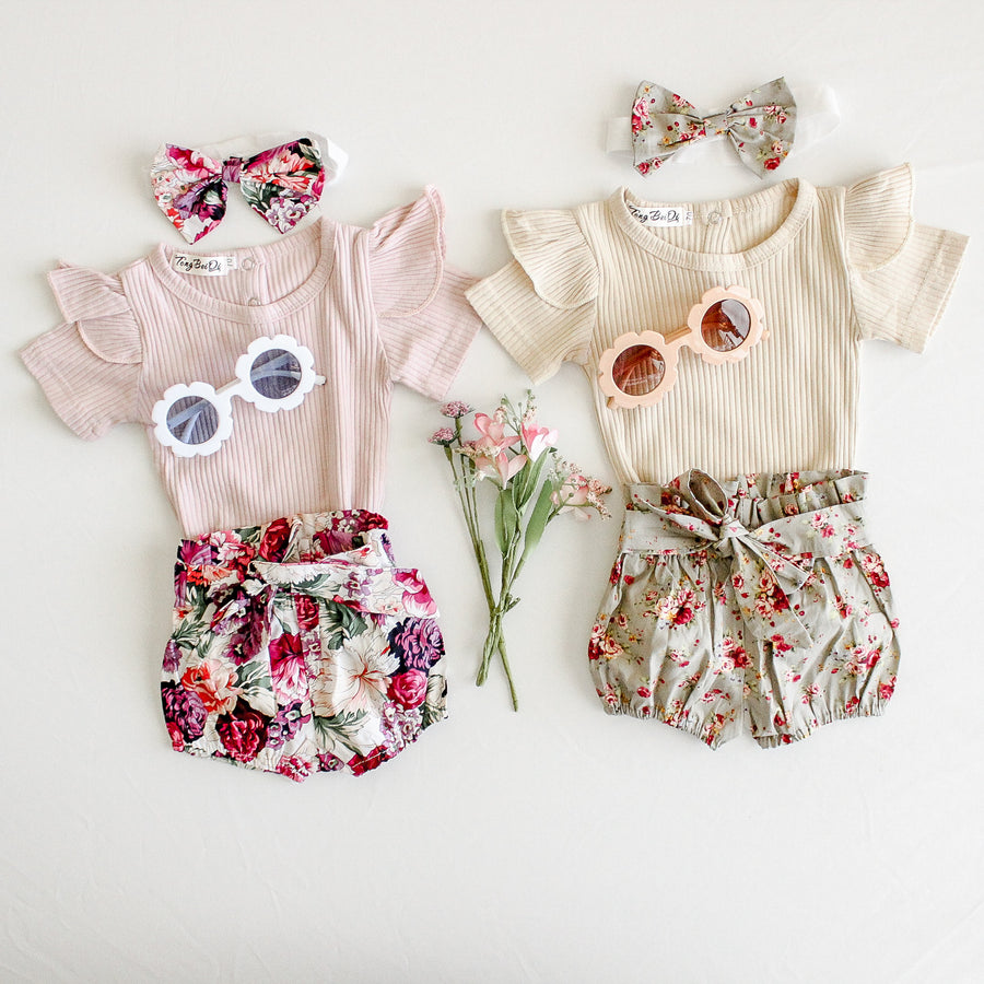 Tessa | Ribbed bodysuit and floral bloomers Set - Beige