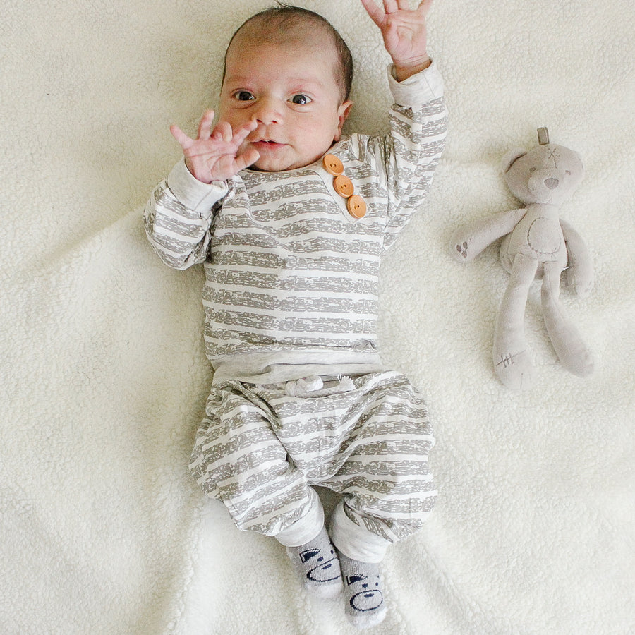 Striped and Buttons Baby Outfit