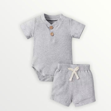 Kai | Ribbed Bodysuit + Shorts Set - Gray