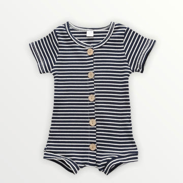 Dorian | Navy Striped Romper