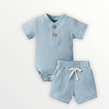 Kai | Ribbed Bodysuit + Shorts Set - Blue