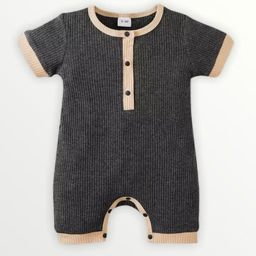 Neal | Ribbed Charcoal Romper