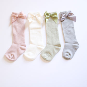 Silky Bow High Knee Socks