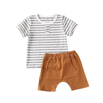 Corey | Striped Top and Brown Shorts