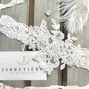 {BLANC} White Alencon Lace Wedding Garter Set
