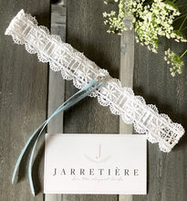 {SOMETHING BLEU} White Lace,  Light Blue Ribbon and Swarovski Crystal Wedding Garter Set