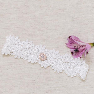 {ELODIE} Vintage Style White Lace Wedding Garter Set