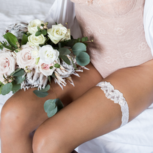 {AMOUR} LIMITED EDITION Ivory Lace and Blush Pink Heart Wedding Garter