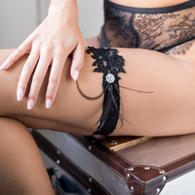 {DARCY} Black Alencon Lace Wedding Garter Set