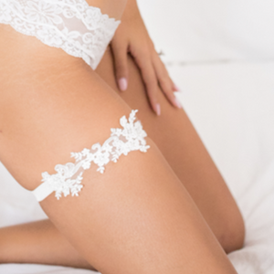 {LUXE} Ivory Beaded Alencon Lace Wedding Garter Set