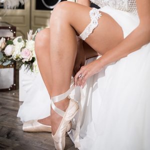 {JULIETTE} Ecru Alencon Lace Wedding Garter Set