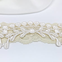 {CHARMANT} Vintage Style Ecru Lace Wedding Garter Set
