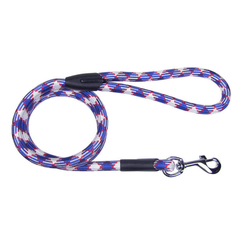 Picture of SimplyWag Nylon Rope Leash in Color Red/White/Blue Mosaic by SimplyWag for Mission Pets, from Leash