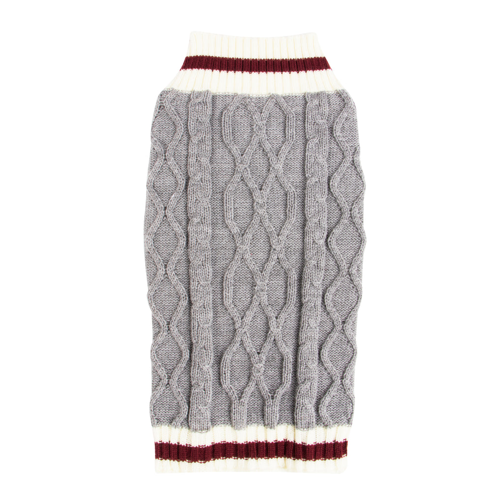 SimplyWag Heather Gray Cable Knit Sweater
