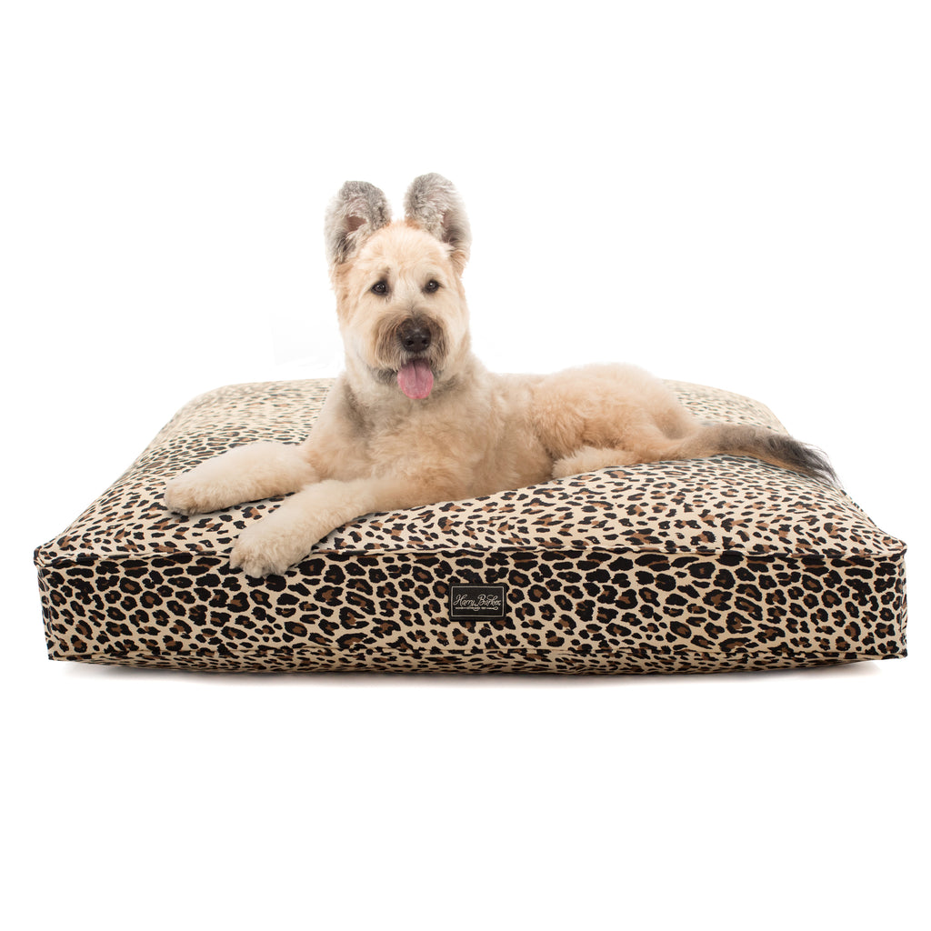 Leopard Cotton Canvas Rectangle Dog Bed Cover