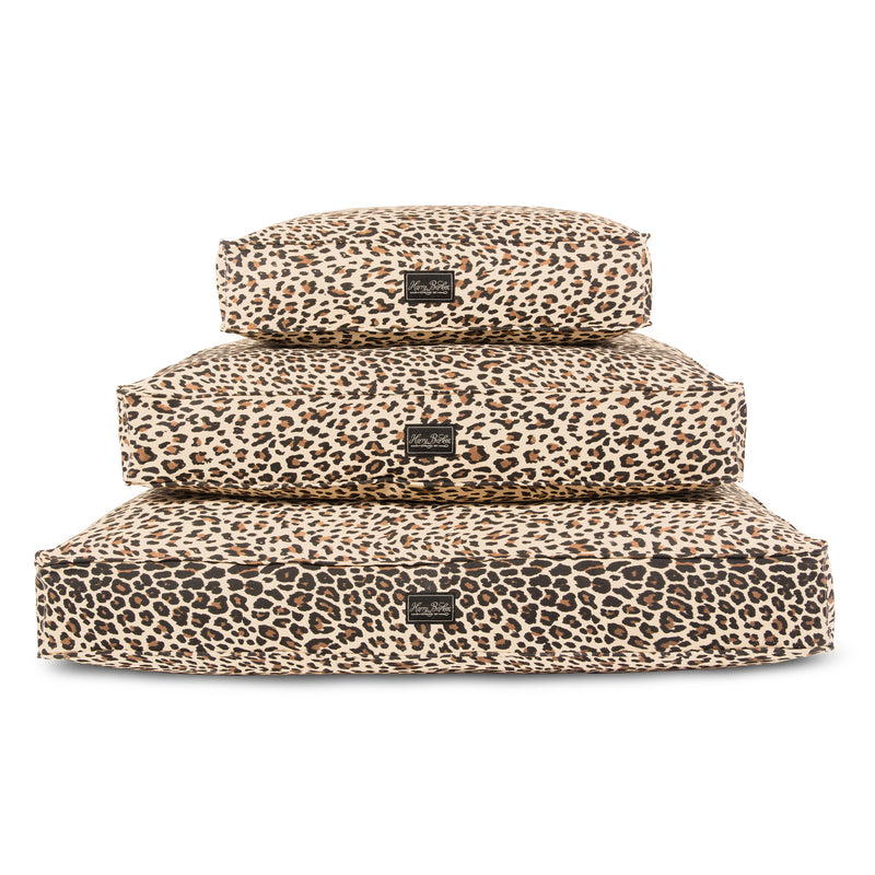 Leopard Cotton Canvas Rectangle Dog Bed