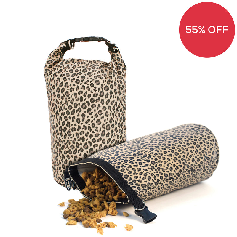 Leopard Travel Dog Food Storage Bag