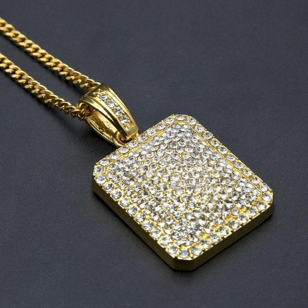 "24"" Cuban Chain Mens Full Iced Out Dog Tag Pendant (BEST SELLER)"