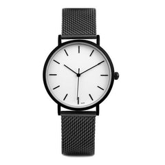 simple stylish Black and white face stainless steel watch