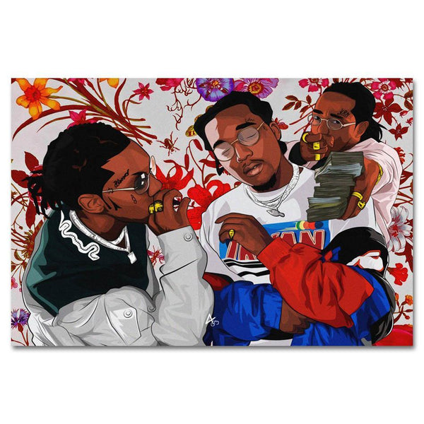 Migos Flowers Canvas Painting