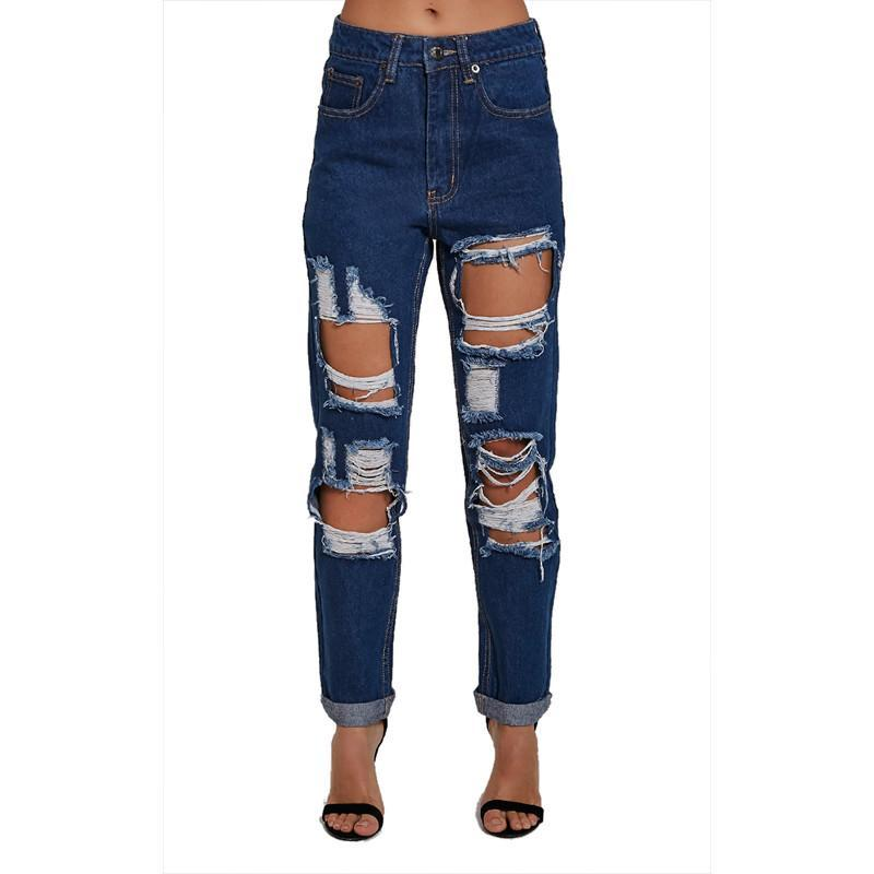 high waist jeans Fashion style torn denim