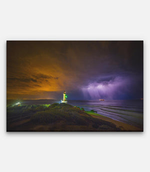 Point Lonsdale Lighthouse Night Storm and Lightning - Bells Fine Art
