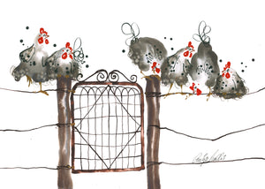 Roosters on Wire Fence - Bells Fine Art