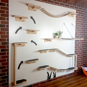 Lazy Cat Wall mouned shelves perch cat gyms rope bridges scratching posts poles