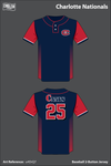 Charlotte Nationals Two Button Baseball Jersey - u4DrQ7