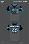 Coed Softball Misfits Two Button Softball Jersey - EAEzVv
