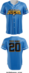 Lorain County Ducks Full Button Baseball Jersey - J5T3hf