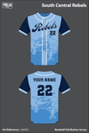 South Central Rebels Full Button Baseball Jersey - LbCBvT
