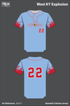 West KY Explosion Uniforms Two Button Baseball Jersey - jB7zLY