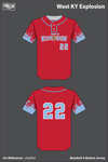 West KY Explosion Uniforms Two Button Baseball Jersey - yHjdMd