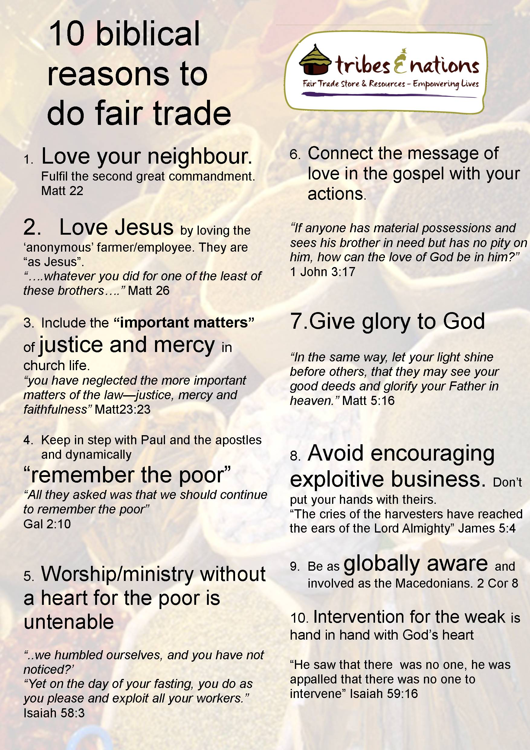Fair trade resources for church - Tribes And Nations