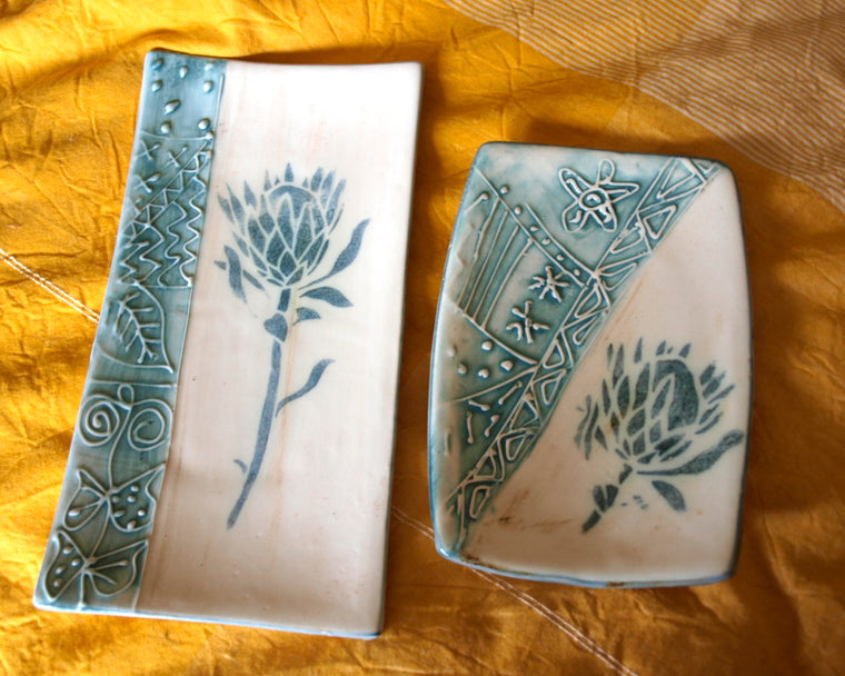 fair trade plate set blue protea