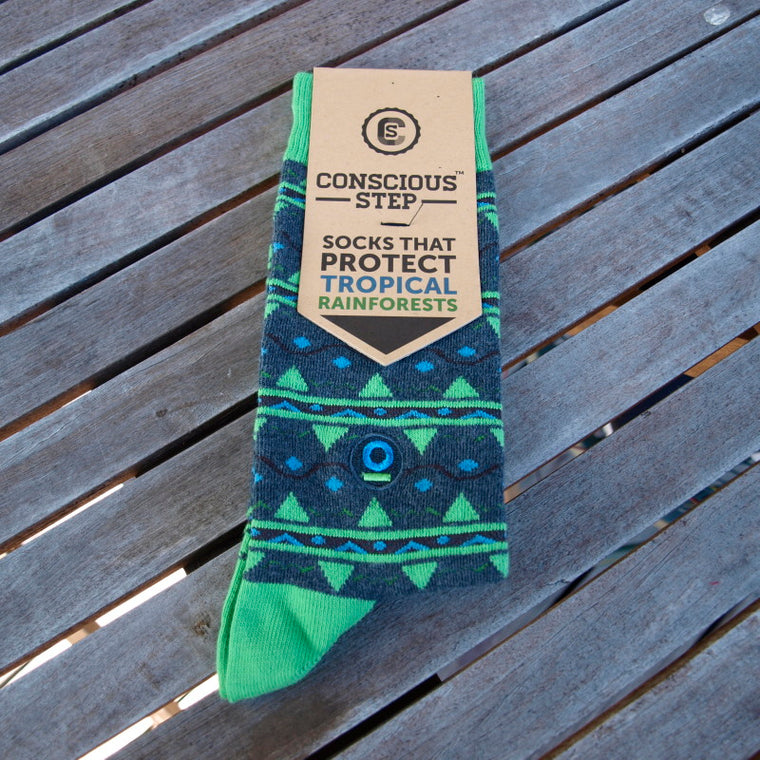 fairtrade cotton socks for rainforest