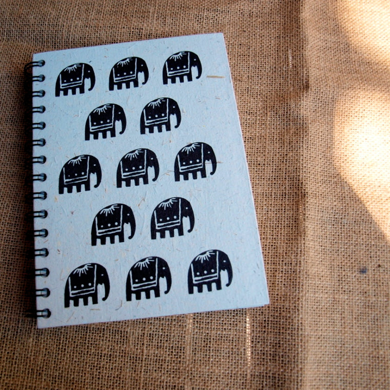 elephant motif spiral notebook