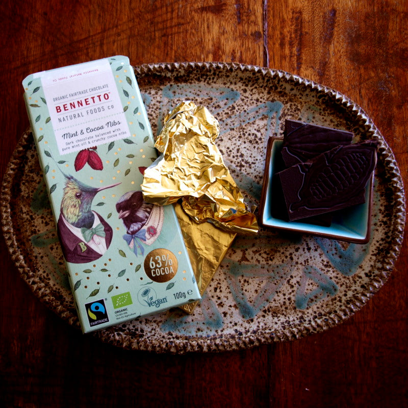 Bennetto Fairtrade dark chocolate 100g Mint and Cocoa nibs