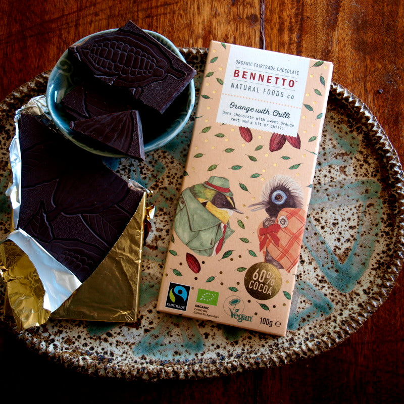 Bennetto Fairtrade dark chocolate 100g  Orange with Chilli