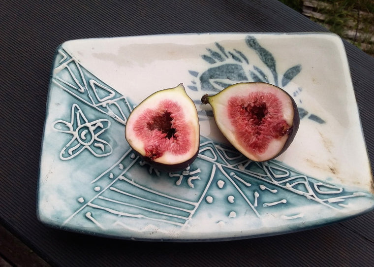 Fair Trade ceramic tea plate protea