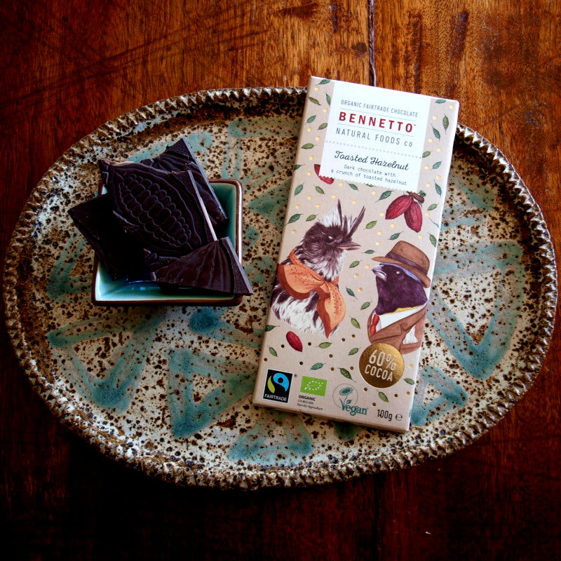 Bennetto Fairtrade dark chocolate 100g Toasted Hazelnut