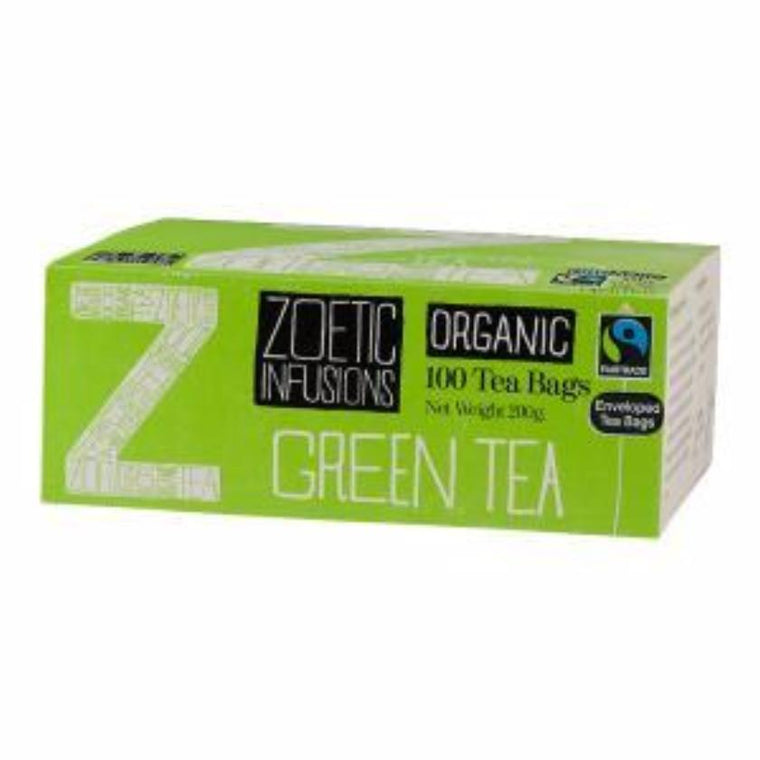 Zoetic infusions Green Organic & Fairtrade 100 enveloped tea